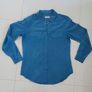 Equipment Femme large teal silk blouse shirt